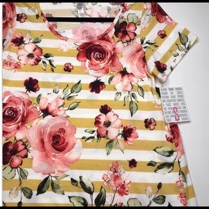 Lularoe NWT Small Striped and Floral Classic Tee💛